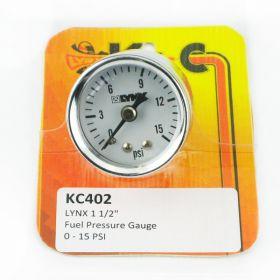 "Lynx 1 1/2"" Fuel Pressure Gauge 0-15 PSI"